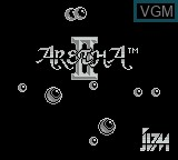 Title screen of the game Aretha II on Nintendo Game Boy