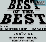 Title screen of the game Best of the Best - Championship Karate on Nintendo Game Boy