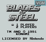 Title screen of the game Blades of Steel on Nintendo Game Boy