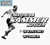 Title screen of the game Matthias Sammer Soccer on Nintendo Game Boy
