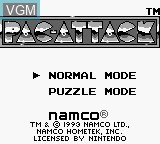 Title screen of the game Pac-Attack on Nintendo Game Boy