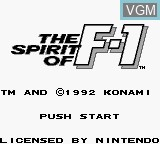 Title screen of the game Spirit of F-1, The on Nintendo Game Boy