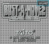 Title screen of the game Bust-A-Move 2 - Arcade Edition on Nintendo Game Boy
