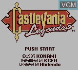 Title screen of the game Castlevania - Legends on Nintendo Game Boy
