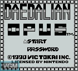 Title screen of the game Daedalean Opus on Nintendo Game Boy