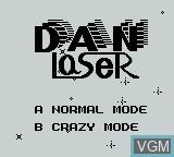 Title screen of the game Dan Laser on Nintendo Game Boy