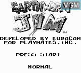 Title screen of the game Earthworm Jim on Nintendo Game Boy