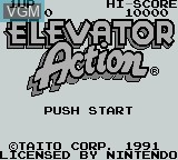 Title screen of the game Elevator Action on Nintendo Game Boy