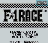 Title screen of the game F-1 Race on Nintendo Game Boy