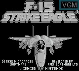 Title screen of the game F-15 Strike Eagle on Nintendo Game Boy