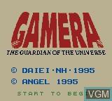Title screen of the game Gamera - Daikai Jukuchuu Kessen on Nintendo Game Boy