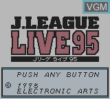 Title screen of the game J.League Live '95 on Nintendo Game Boy