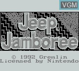 Title screen of the game Jeep Jamboree on Nintendo Game Boy