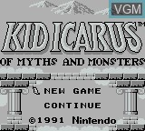 Title screen of the game Kid Icarus - Of Myths and Monsters on Nintendo Game Boy
