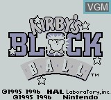 Title screen of the game Kirby's Block Ball on Nintendo Game Boy