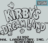 Title screen of the game Kirby's Dream Land on Nintendo Game Boy