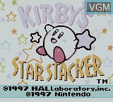 Title screen of the game Kirby's Star Stacker on Nintendo Game Boy