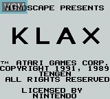 Title screen of the game Klax on Nintendo Game Boy