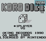 Title screen of the game Korodice on Nintendo Game Boy