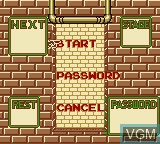 Menu screen of the game Pac-Panic on Nintendo Game Boy