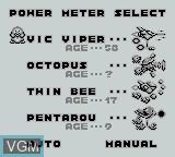 Menu screen of the game Parodius on Nintendo Game Boy