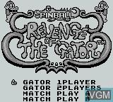 Menu screen of the game Pinball - Revenge of the Gator on Nintendo Game Boy