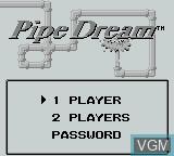 Menu screen of the game Pipe Dream on Nintendo Game Boy