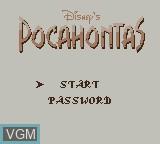 Menu screen of the game Pocahontas on Nintendo Game Boy