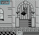 Menu screen of the game Addams Family, The on Nintendo Game Boy