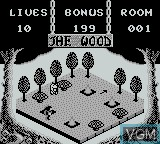 Menu screen of the game Adventures of Pinocchio, The on Nintendo Game Boy