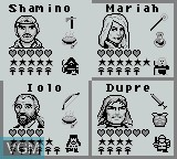 Menu screen of the game Ultima - Runes of Virtue II on Nintendo Game Boy