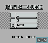 Menu screen of the game Ultra Golf on Nintendo Game Boy