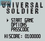 Menu screen of the game Universal Soldier on Nintendo Game Boy