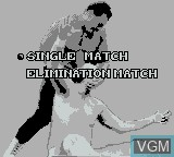 Menu screen of the game WCW Main Event on Nintendo Game Boy