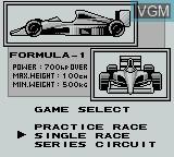Menu screen of the game World Circuit Series on Nintendo Game Boy