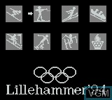 Menu screen of the game XVII Olympic Winter Games, The - Lillehammer 1994 on Nintendo Game Boy