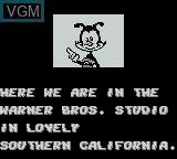 Menu screen of the game Animaniacs on Nintendo Game Boy
