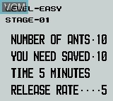 Menu screen of the game Ant Soldiers on Nintendo Game Boy