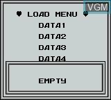 Menu screen of the game Aretha III on Nintendo Game Boy