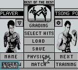 Menu screen of the game Best of the Best - Championship Karate on Nintendo Game Boy