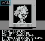 Menu screen of the game Darkwing Duck on Nintendo Game Boy