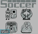 Menu screen of the game Elite Soccer on Nintendo Game Boy