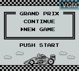 Menu screen of the game F-1 Race on Nintendo Game Boy