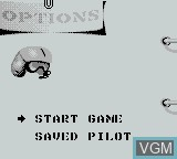 Menu screen of the game F-15 Strike Eagle on Nintendo Game Boy