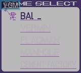 Menu screen of the game Gameboy Gallery on Nintendo Game Boy
