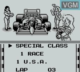 Menu screen of the game Grand Prix on Nintendo Game Boy
