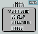 Menu screen of the game J.League Fighting Soccer on Nintendo Game Boy