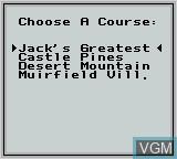 Menu screen of the game Jack Nicklaus Golf on Nintendo Game Boy