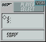 Menu screen of the game James Bond 007 on Nintendo Game Boy
