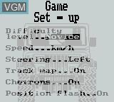 Menu screen of the game Jeep Jamboree on Nintendo Game Boy